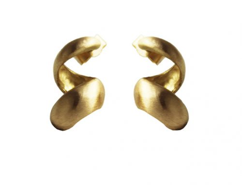 Whirlwind 18Ct yellow gold brushed finished earring ER-G010-Daniel Gallie