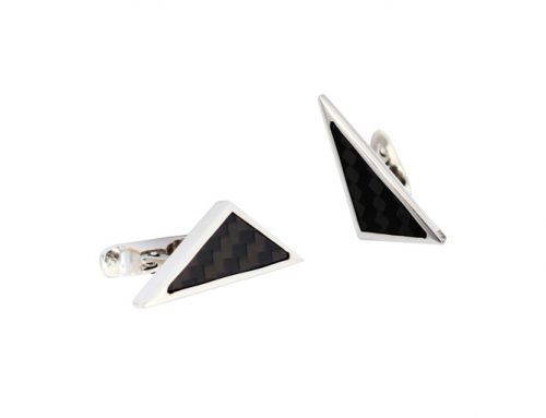 Silver cuff links set with carbon fibre-Daniel Gallie