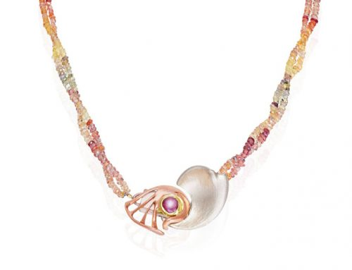 Rose and white gold clasp set with a star sapphire and strung on a corundum necklace NC-G 004-Daniel Gallie